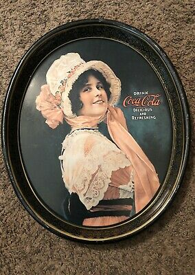 Betty Girl Coca Cola Tray Vintage Tin Antique/Oval Shape/size12x15/ 1972