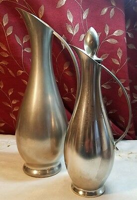 "Vintage Metawa Real Pewter Holland Putchers / Vases 9.75"" And 8.25"""