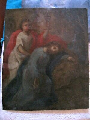 Original Retablo On Tin With The Image Of Jesus At The Olive Mount And An Angel