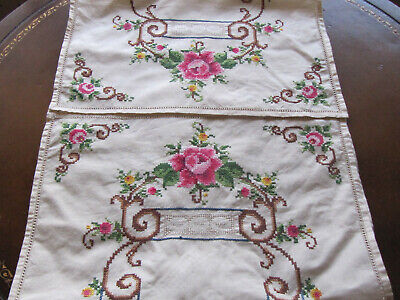 """Vintage Cotton/Linen Hand Embroidered Table runner 15.5"""" X 42"""" Roses"""
