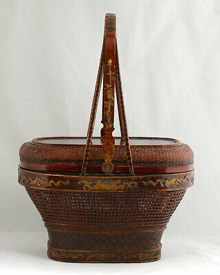 Vintage Chinese Wedding Basket Hand Painted Woven