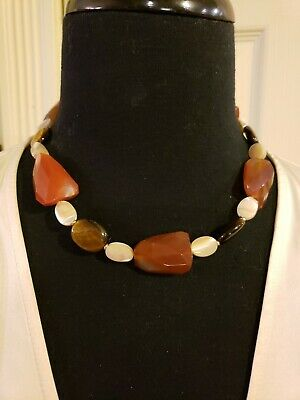 """14K Yellow Gold CARNELIAN TIGERS EYE MOTHER-OF-PEARL 18"""" Necklace, Toggle Clasp"""