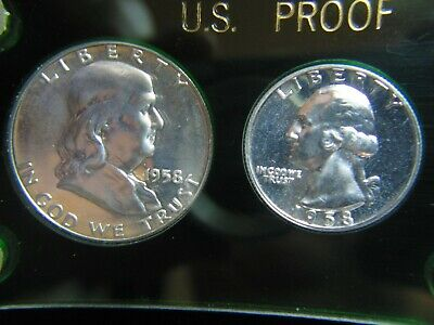 1958 PROOF SET -- 4 coins CAMEO SILVER