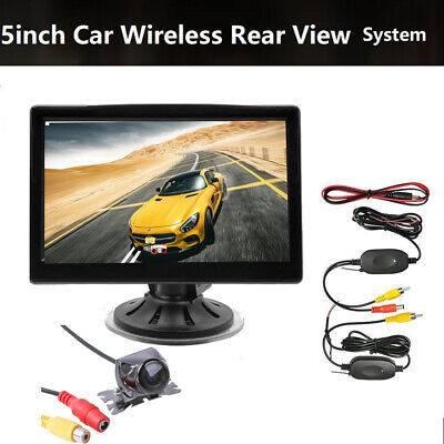 "Backup Reverse Camera Night Vision Wireless 5"" Monitor Car RearView Parking Unit"