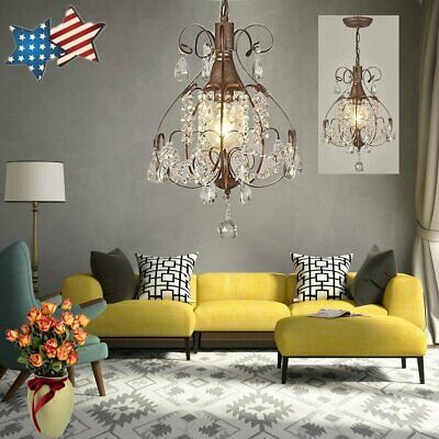 Rustic Crystal Chandelier Antique Vintage Lighting Light Fixture Hanging*Pendant