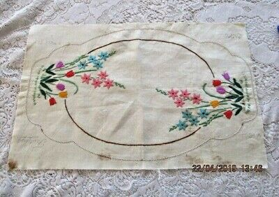 Vintage Hand Embroidered Large Doily*FLORAL*Faultleys 100% Pure Linen Worked 90%