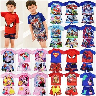 Boys Girls Kids Character Swimsuit Surf Suit Costume Swimming Top Bottoms Set