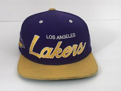 a8fe99b74c9 Mitchell   Ness NBA Los Angeles Lakers Team 2 Tone Logo Script Snapback Cap  Hat