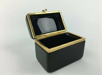 Pair Antique French Black Opaline Hinged Box Casket, Brass Trim and Clasp