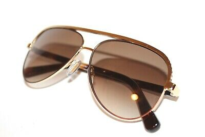 a9f5fdaa2ca4 New Jimmy Choo Lina s J8A jd Gold Brown Aviator Authentic Sunglasses 59-