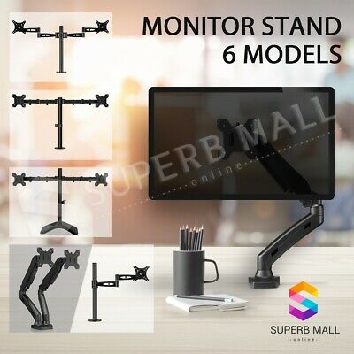 "Single Dual Arm 13""-27"" TV Screen Monitor Stand HD LCD LED Desk Mount Gas Spring"