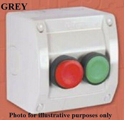 Clipsal PUSH BUTTON SWITCH 2-Gangs 440V 10A Weathershield, Red/Green Button,Grey