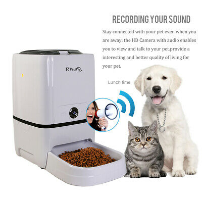 6L Remote Automatic Pet Feeder Animal Food Dispenser for Cat Dog with HD Camera
