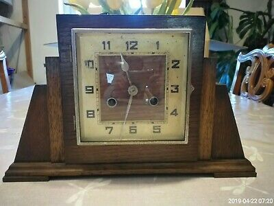 Vintage Oak Cased Art Deco Mantle Clock Haller Foreign Movement