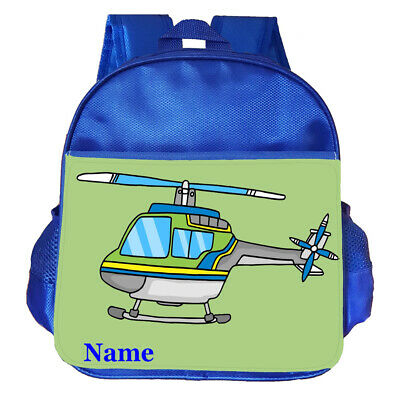 Helicopter Personalised Customised Kids Toddler School Nursery Bag Backpack