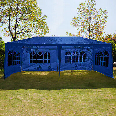 3Mx6M Gazebo Marquee Canopy with Sides Waterproof Garden Wedding Party Tent Blue