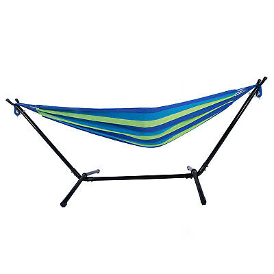 Double Hammock with Stand Portable Outdoor Polyester Hammock Set