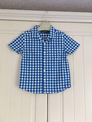 Baby Boys Summer Blue Checked Shirt Next 18-24 Months