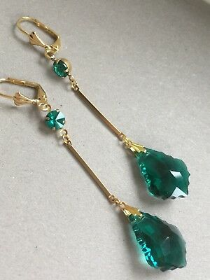 Art Deco vintage style teal green crystal glass earrings