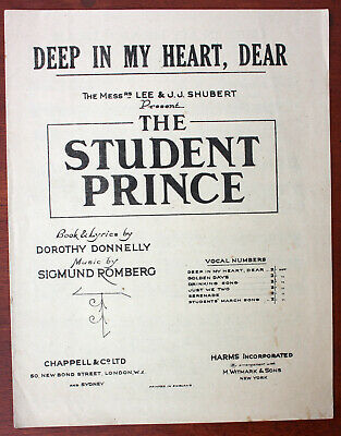 """Deep In My Heart, """"The Student Prince"""" Romberg, Sheet Music - UK Shilling"""