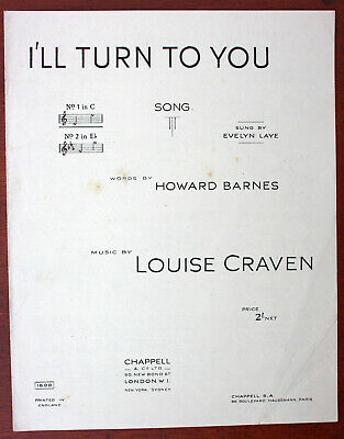 I'll Turn To You, Song, Louise Craven, Sheet Music - UK Shilling