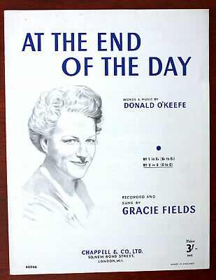 At The End Of The Day, Gracie Fields, Song, Sheet Music - UK Shilling