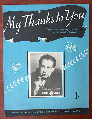 My Thanks To You, Donald Peers, Song, Sheet Music - UK Shilling