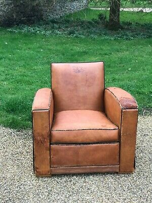 Antique French Leather Club chair Art Deco