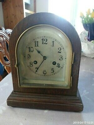 Antique/ Vintage  Wooden Mantle Clock  Pendulum & Wind Up Key