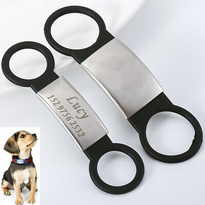 Personalised Engraved Dog Collar Tags ID Slide for Dogs Pet Puppy Black Size M L