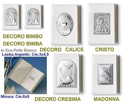 Vangelo Communion-Confirmation Cm.6x9 Eco Leather White Slab Baby 925 Silver%