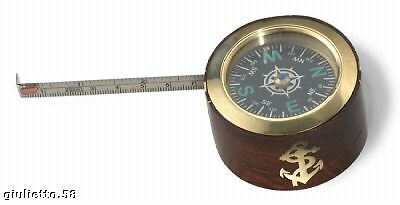 Compass Paperweight with Meter Brass and Wood Teak 15617