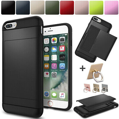 Hybird Armor Case Cover Slide Credit Card Slot Holder For iPhone 6s 6 7 8 Plus X