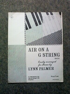 Air On a G String Sheet Music, by J.S. Bach, Easy Arrangement for Piano
