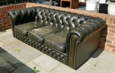 3 seater black (dark green tint) Chesterfield Sofa