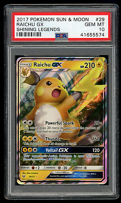 2017 Pokemon Sun & Moon Shining Legends 29 Raichu GX-PSA 10 GEM MINT 💎