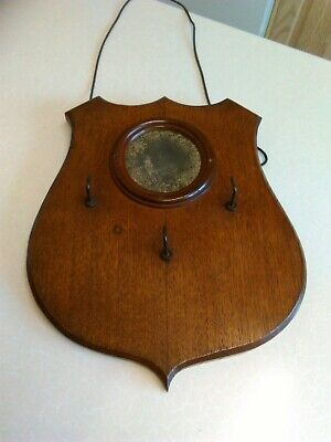 Edwardian Shield Shaped Oak Coat/Key Rack with Round Mirror (1915)