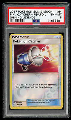 2017 Pokemon Sun & Moon Shining Legends 64 Pokemon Catcher-Rev. Foil-PSA 8 NM-MT