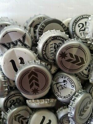 50 Silver Mixed Variety Beer Bottle Caps. Assorted Brands. Charity.