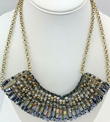 Tribal Boho Style Crystal Glass Aurora Borealis Beaded Gold Tone Necklace