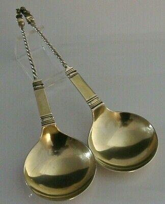 Victorian Lion Topped Solid Sterling Silver Gilt Serving Spoons 1886 Antique
