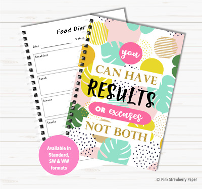 Motivational Diet Food Diary Weight Watchers Slimming World Planner Weight Loss