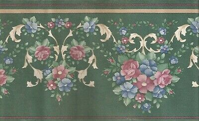Victorian Marble Green Scroll Floral Flower Shell Wall paper Border 588172
