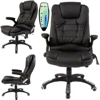 Black Reclining PU Leather Home Office Computer Swivel Chair Massage 6 Points