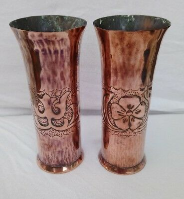 Arts & Crafts pair of Copper vases - believed to be Keswick KSIA