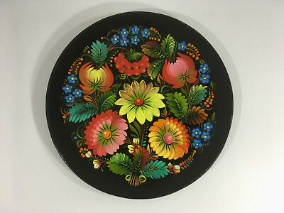 Vintage Beautifully Hand Painted Floral Wooden Plate Folk Art Barge Art Russian