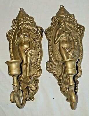 Gorgeous Vtg Set Pair Bronze Brass Wall Candle Sconces Nudes Nude Women