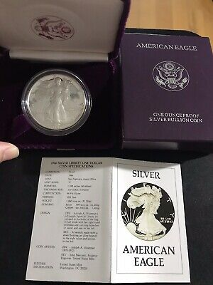 1986-S American Silver Eagle PROOF Coin 1 TROY OZ with Box, COA, & Case - BU