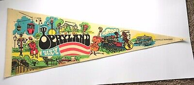 OPRYLAND Pennant Vintage Flag Nashville Tennessee Theme Park Characters