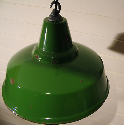 Vintage industrial workshop enamel metal light shade, REWIRED beautiful patina